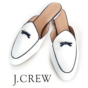 J. Crew Piped Loafer Mule White & Navy Sz 11